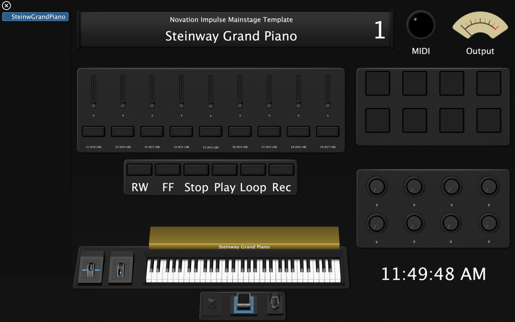A photo of a Mainstage template for the Novation Impulse